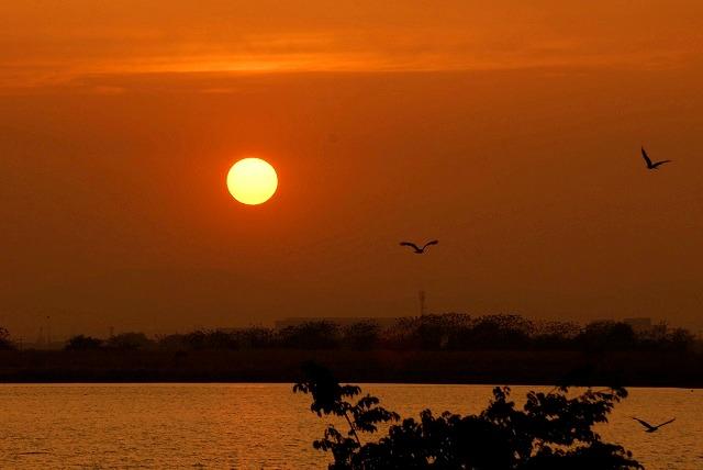 児島湖の夕陽2