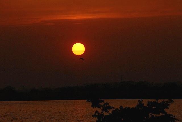 児島湖の夕陽3