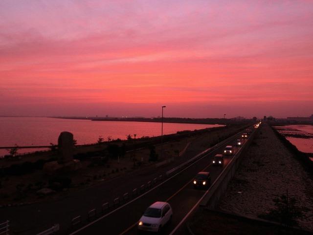 児島湖の夕陽