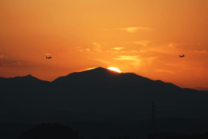 夕景 飛行機 20131028A