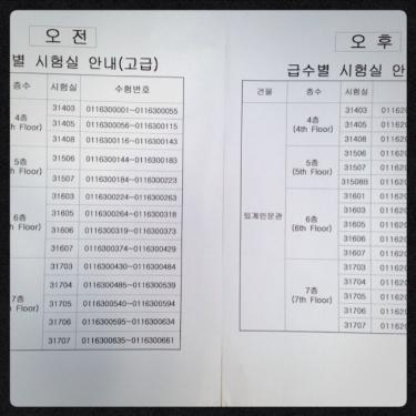 受験番号と試験を受ける教室が貼り出されてました。