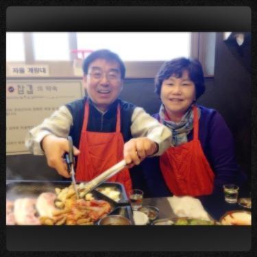 韓国の両親。
