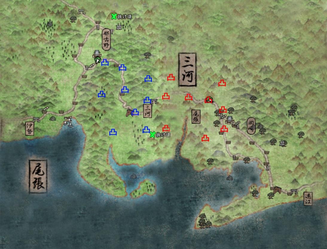 信長の野望online|合戦考 尾張と三河の合戦マップ