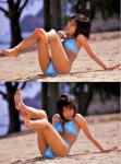 釈由美子 セクシー ビキニ水着 おっぱいの谷間 裸足の裏 股間食い込み 挑発ポーズ 砂浜 高画質エロかわいい画像60