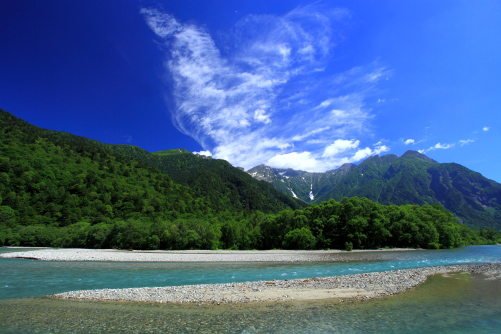 雲わく穂高岳と梓川