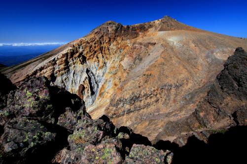 地獄谷の爆裂火口と剣ヶ峰