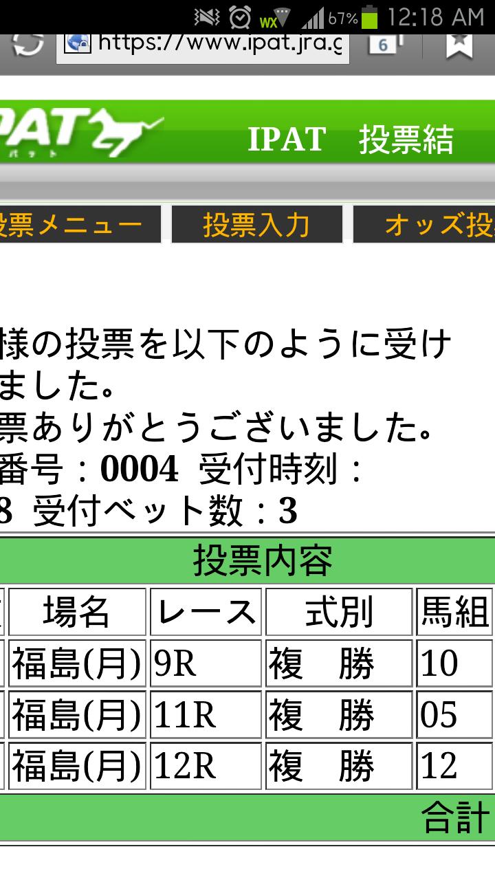 4月29日 複勝