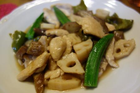 鳥肉と根菜炒め