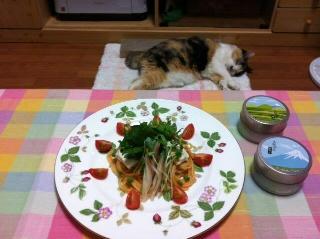 生湯葉と香菜トマトパスタ