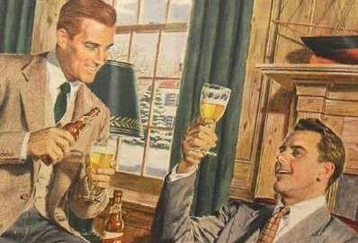 1940s Schlitz Beer 1950s Vintage Men Queer Campy Midcentury Spot Illustration Advertisement