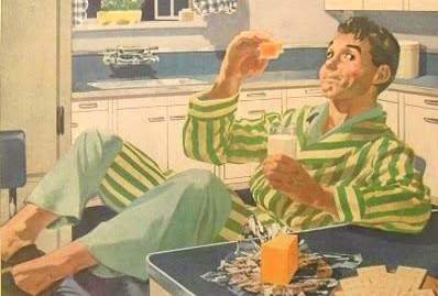 1940s CELLOPHANE vintage illustration advertisement man in pyjamas in kitchen