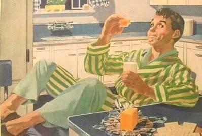 1940s CELLOPHANE vintage illustration advertisement man in pyjamas in kitchen