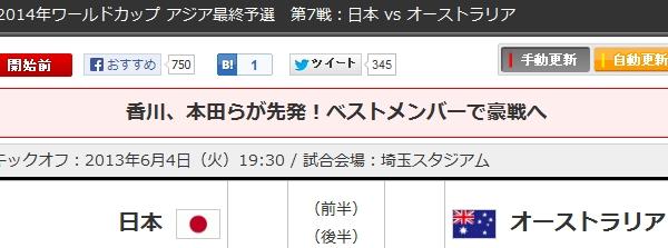 2014年ワールドカップ アジア最終予選 第7戦:日本 vs オーストラリア