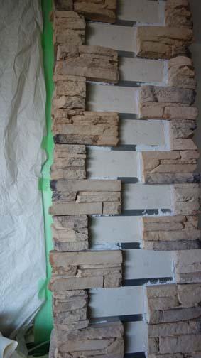 セメント石材貼り途中