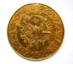 トルコ500クルシュ金貨 治世7年 1915年