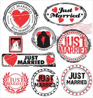 結婚報告のラベルとスタンプ+just+married+labels+and+stamps+イラスト素材[1]