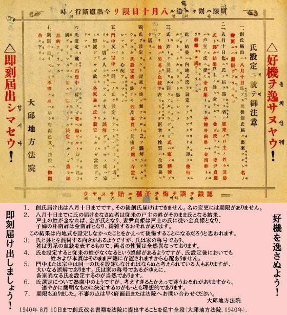 1939年に朝鮮人の要望を認め、1940年2月11日から8月10日までの6か月間創始改名の受付を行った