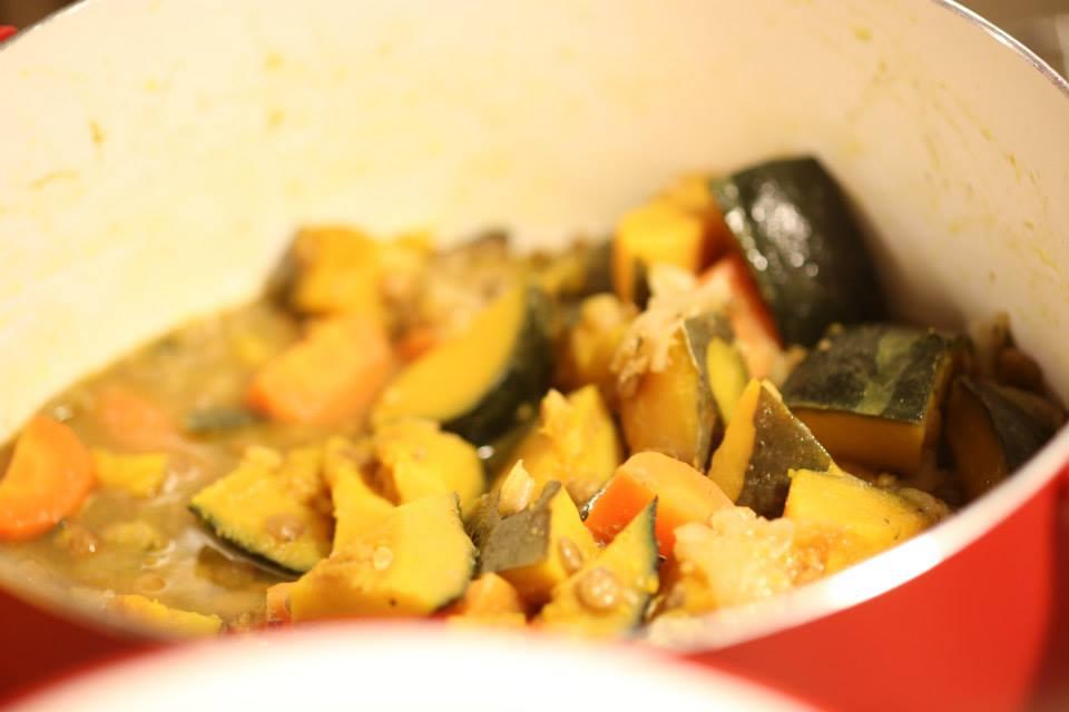 かぼちゃとレンズ豆の煮込み