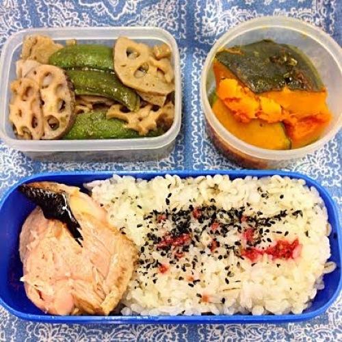 4鮭と野菜のお弁当