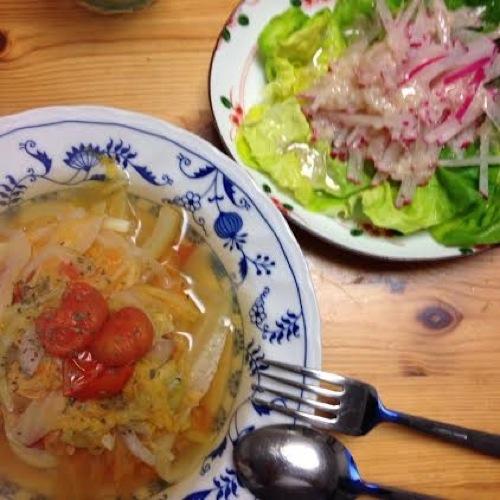 1オレンジ白菜とホタテのスープ