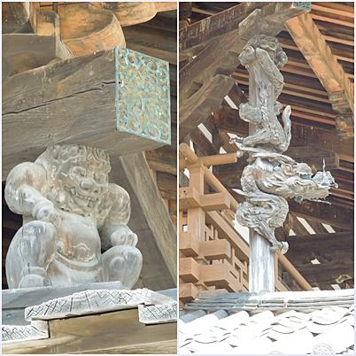 法隆寺 柱の装飾