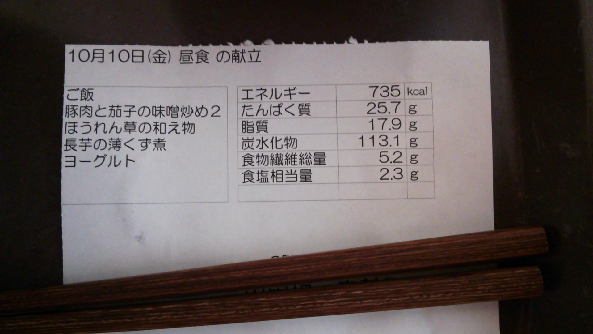 10月10日(金)昼食の献立