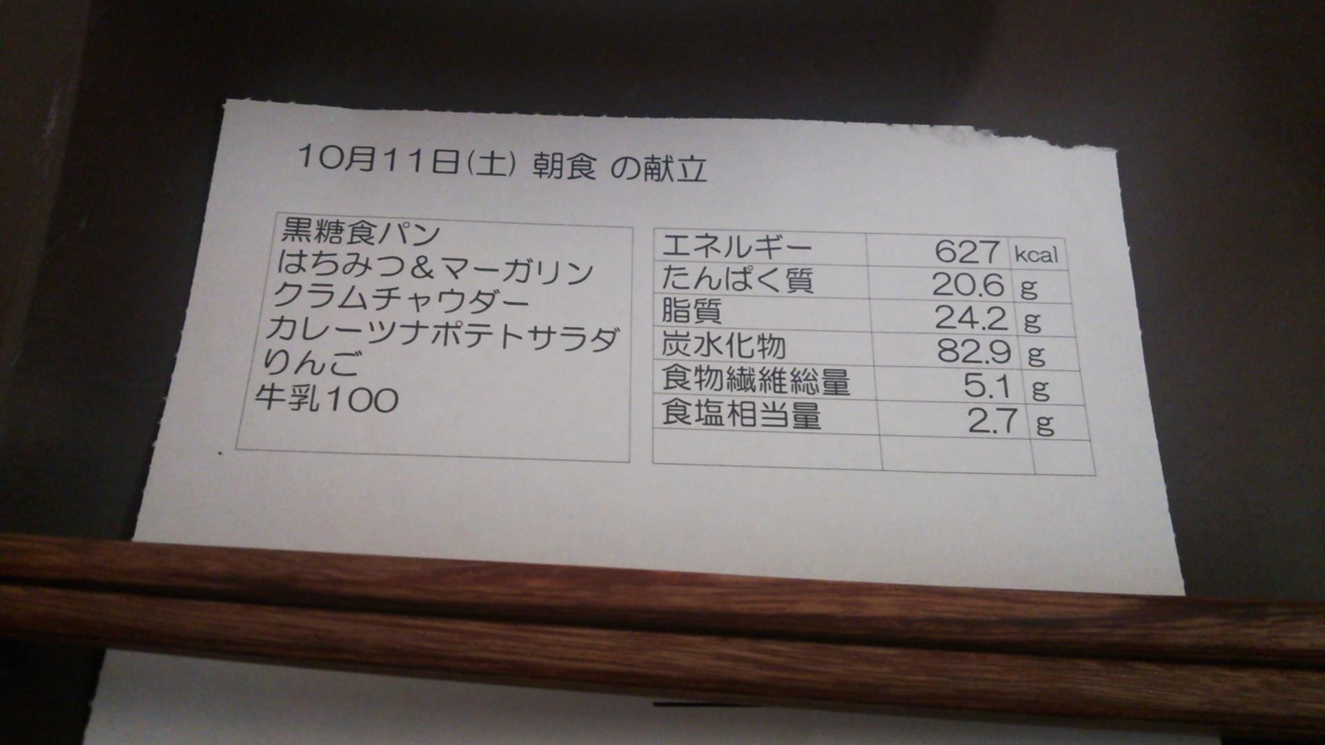 10月11日(土)朝食の献立