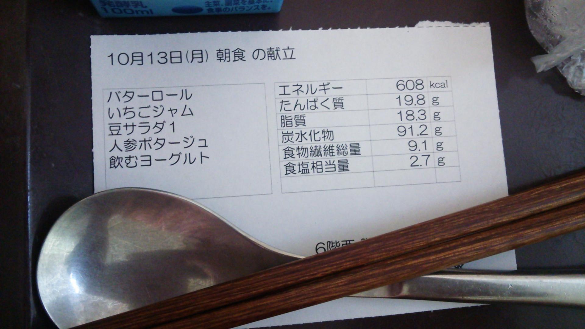 10月13日(月)朝食の献立