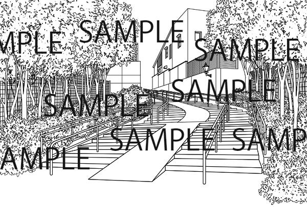 漫画背景素材「外の階段のイラスト」