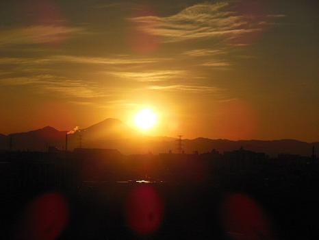 富士の背の夕陽