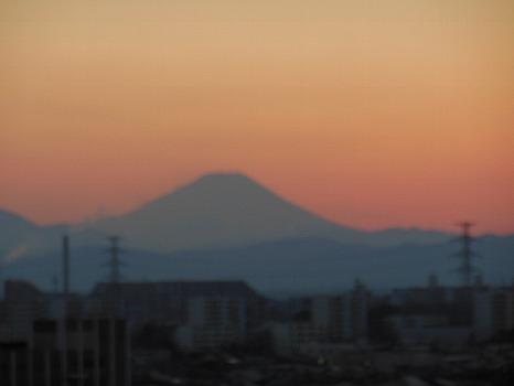 富士に雲なき夕焼け