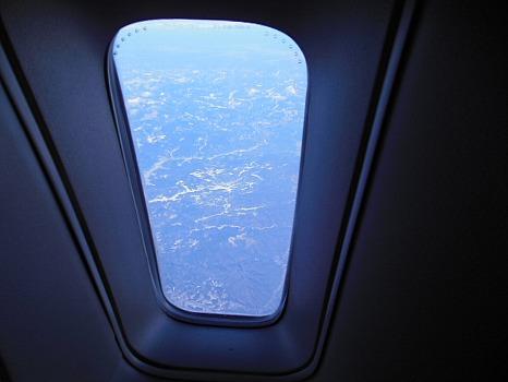 日本アルプス上空?