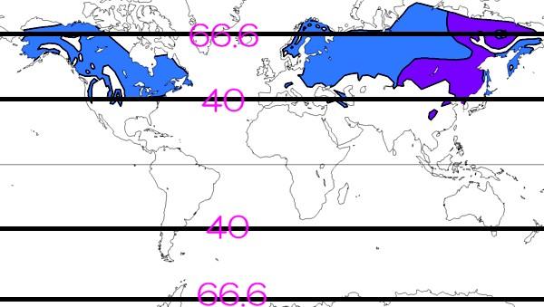 亜寒帯の地域