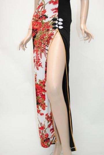 フロント和柄バックスピンドル ロングドレス