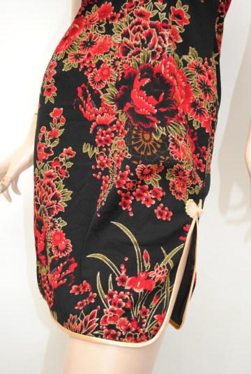 和柄チャイナボタンWスリットチャイナ ショートドレス
