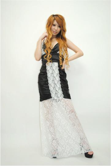 ラブリー花レース☆ ビジュー ロングドレス