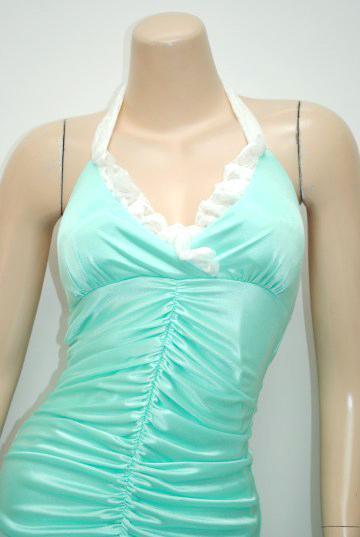上品レースストレッチサテン ロングドレス