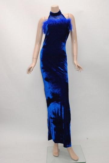 アメリカンノースリーブ ベロア ロングドレス