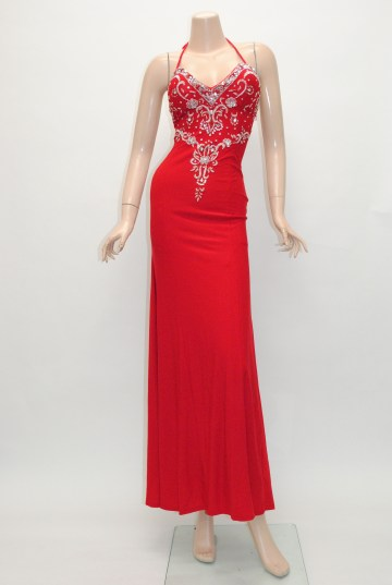 スパンコール刺繍 シンプルスレンダーライン ロングドレス