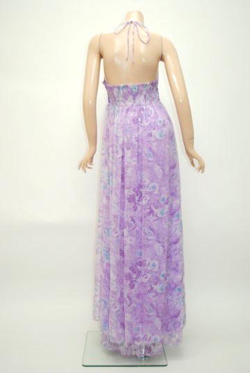 上品花柄ストーンシフォン ロングドレス