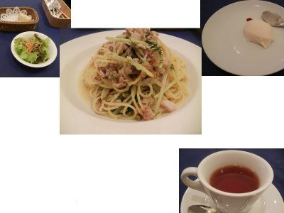 パスタ料理の内訳と紅茶
