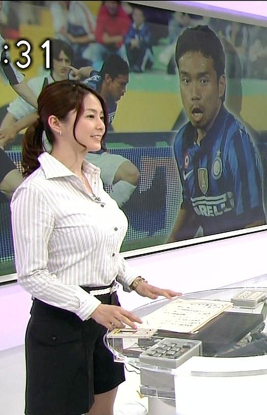 NHK・杉浦友紀アナの胸を見る長友佑都