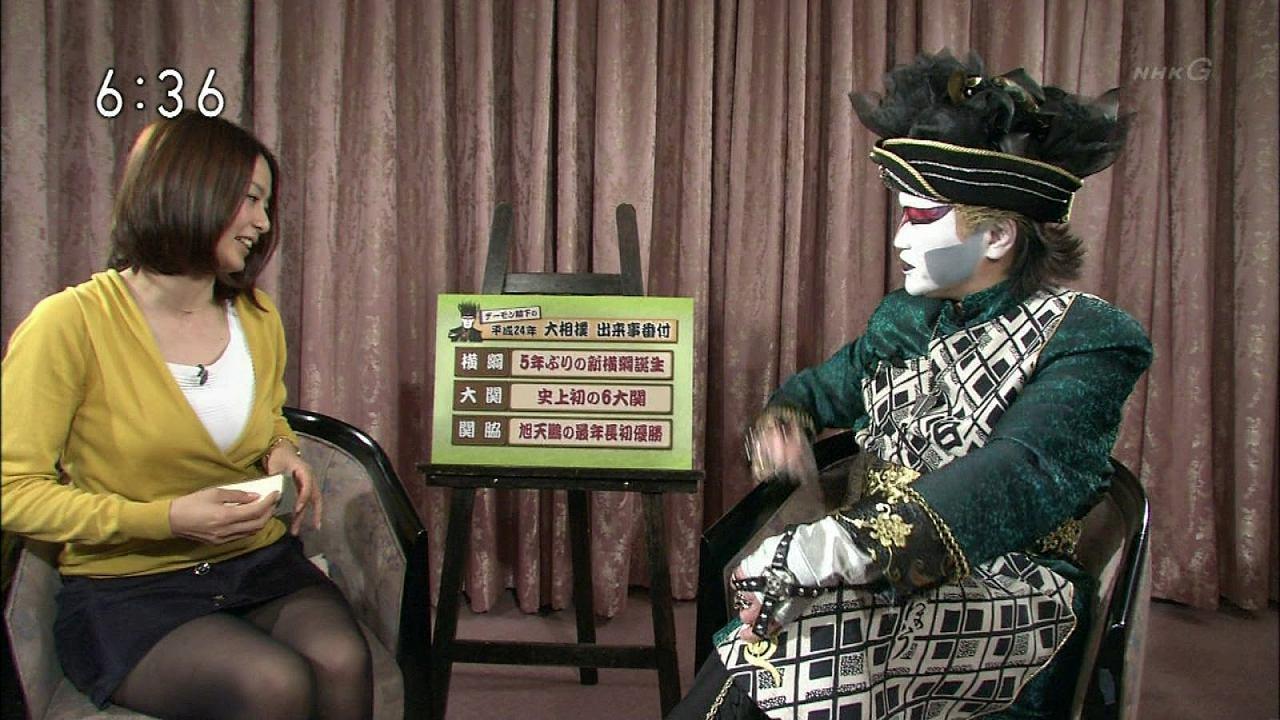 タイトなミニスカートを履いた杉浦友紀アナ