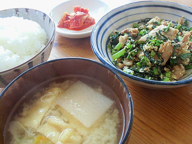 大根菜の肉炒め