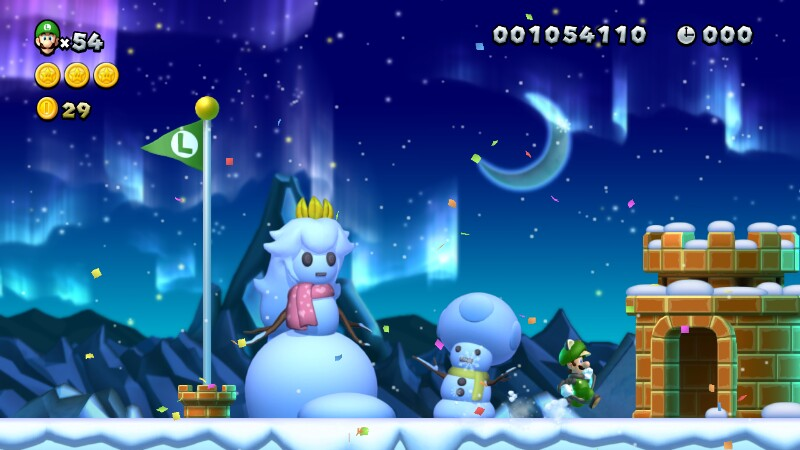 ピーチとキノピオの雪だるま