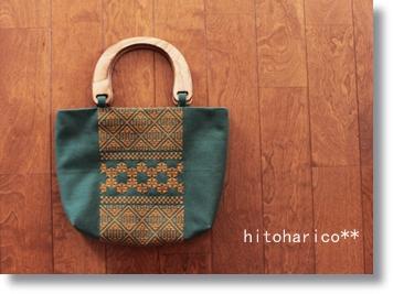 ウッドハンドルバッグ 緑
