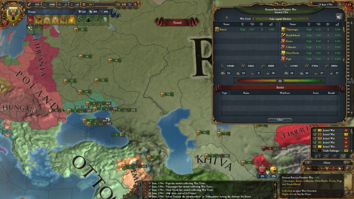 1704年、包囲網第1陣・第2陣との戦い