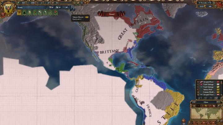 1735年のアメリカ大陸。カリフォルニアがロシア領
