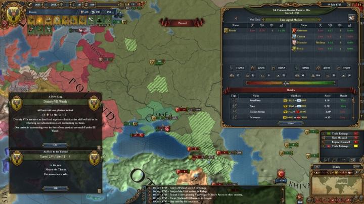 残るオスマン帝国との戦いと新ツァーリDmitriy VII Wredeの即位(1745年7月)