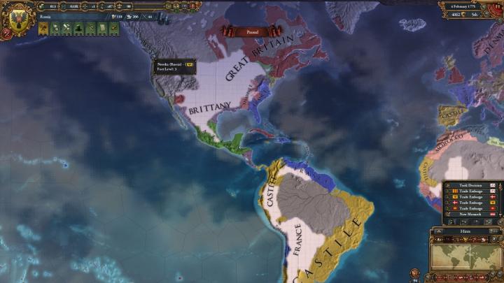 1775年のアメリカ大陸